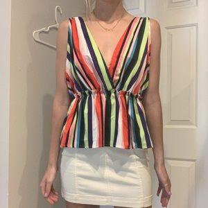 Tops - Rainbow striped peplum tank top